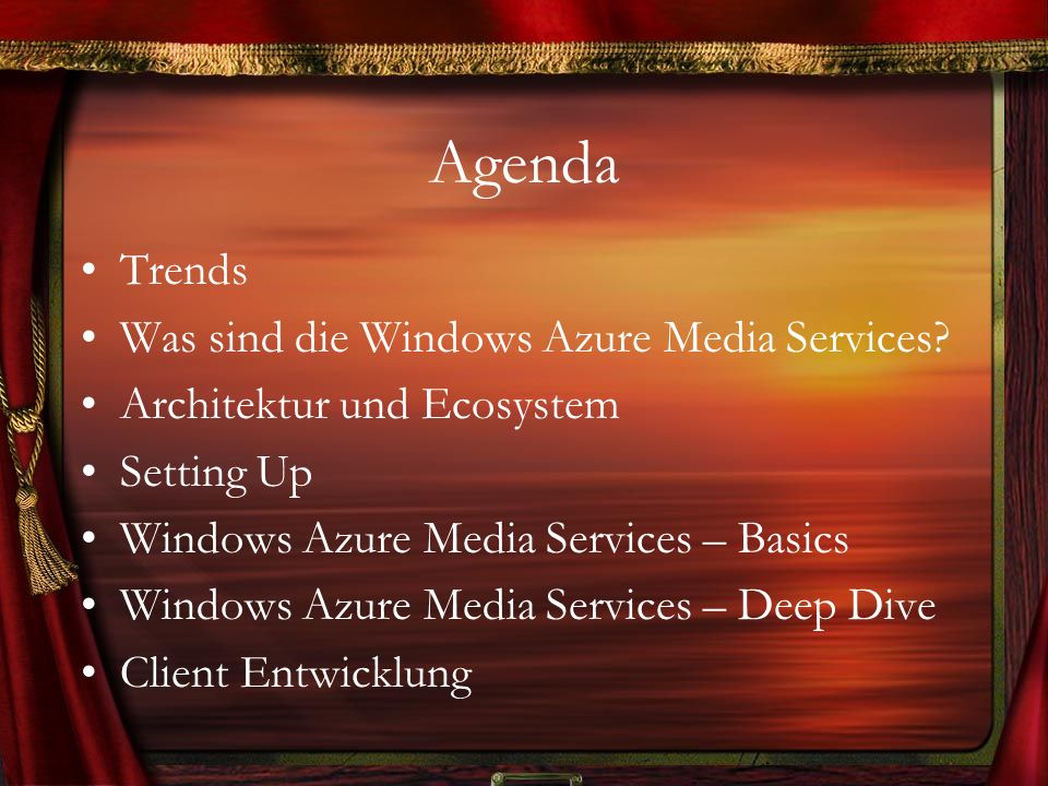 Agenda Trends Was sind die Windows Azure Media Services? Architektur und Ecosystem Setting Up Windows Azure Media Services – Basics Windows Azure Medi