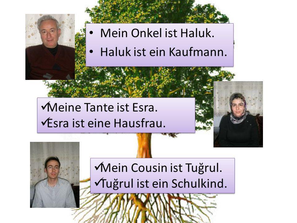 Mein Onkel ist Haluk. Haluk ist ein Kaufmann. Mein Onkel ist Haluk. Haluk ist ein Kaufmann. Meine Tante ist Esra. Esra ist eine Hausfrau. Meine Tante