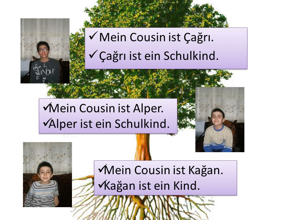 Mein Cousin ist Çağrı. Çağrı ist ein Schulkind. Mein Cousin ist Çağrı. Çağrı ist ein Schulkind. Mein Cousin ist Alper. Alper ist ein Schulkind. Mein C