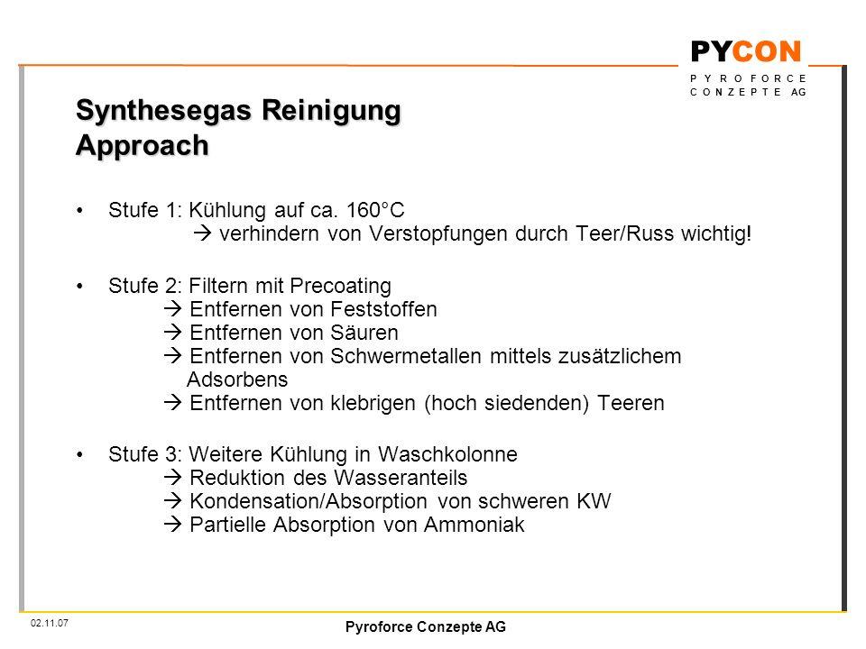 Pyroforce Conzepte AG PYCON P Y R O F O R C E C O N Z E P T E AG 02.11.07 Synthesegas Reinigung Approach Stufe 1: Kühlung auf ca.
