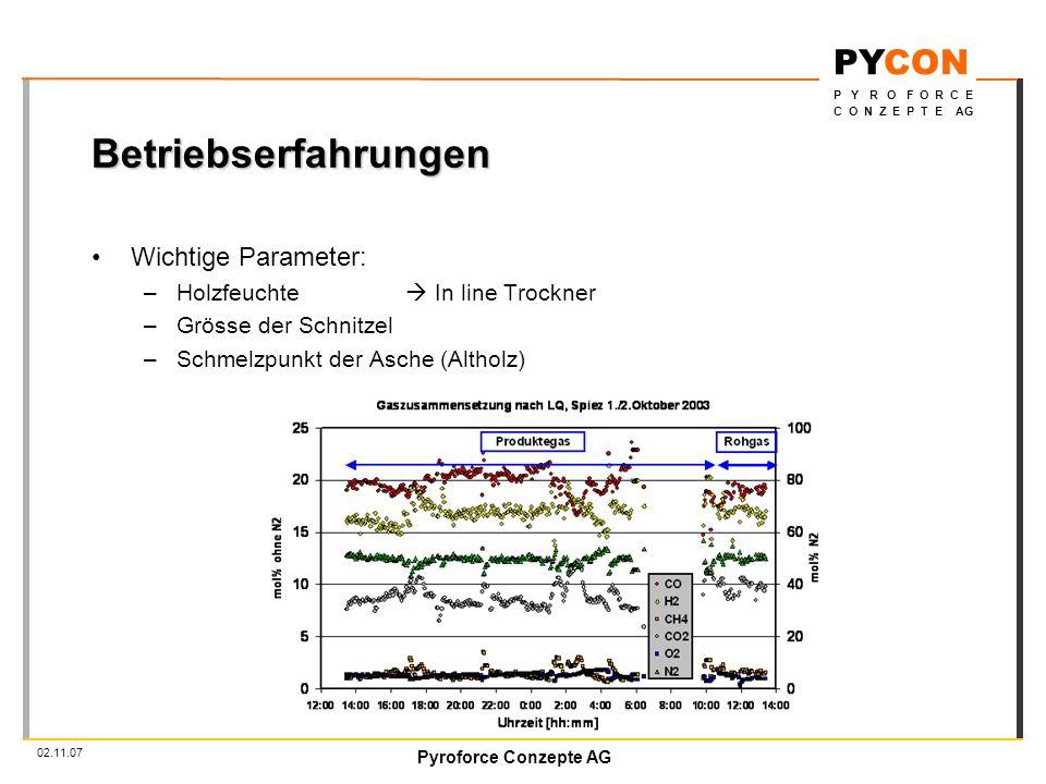 Pyroforce Conzepte AG PYCON P Y R O F O R C E C O N Z E P T E AG 02.11.07 Betriebserfahrungen Wichtige Parameter: –Holzfeuchte In line Trockner –Grösse der Schnitzel –Schmelzpunkt der Asche (Altholz)