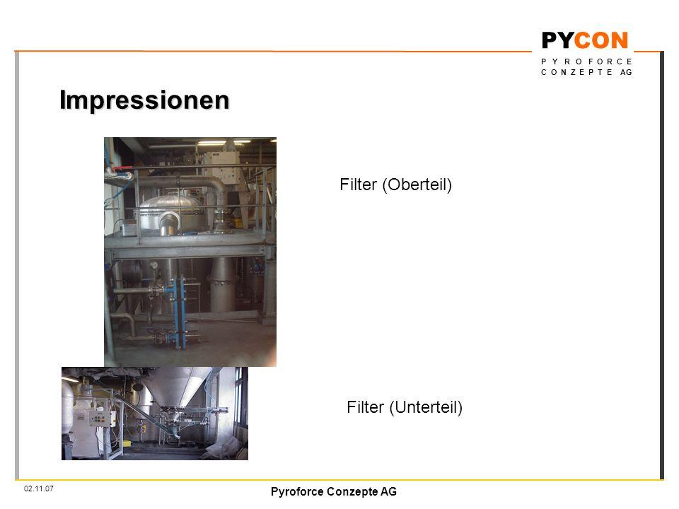 Pyroforce Conzepte AG PYCON P Y R O F O R C E C O N Z E P T E AG 02.11.07 Impressionen Filter (Oberteil) Filter (Unterteil)