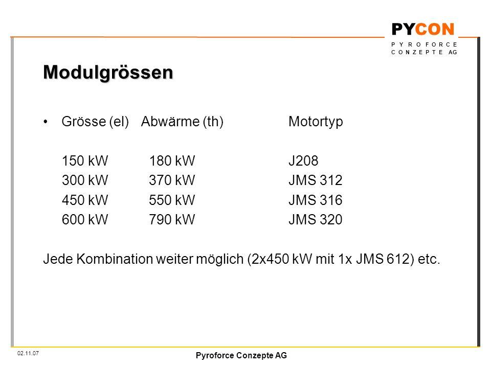 Pyroforce Conzepte AG PYCON P Y R O F O R C E C O N Z E P T E AG 02.11.07 Modulgrössen Grösse (el)Abwärme (th)Motortyp 150 kW 180 kWJ208 300 kW 370 kWJMS 312 450 kW 550 kWJMS 316 600 kW 790 kWJMS 320 Jede Kombination weiter möglich (2x450 kW mit 1x JMS 612) etc.