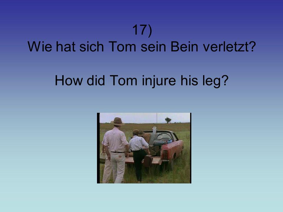 17) Wie hat sich Tom sein Bein verletzt How did Tom injure his leg