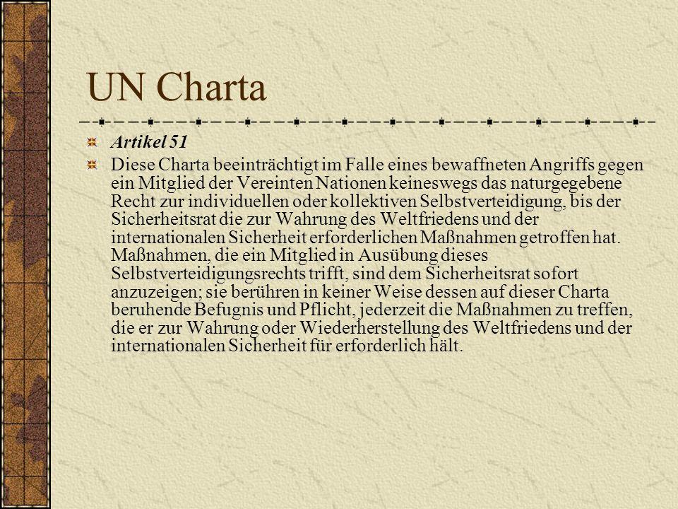 UN Charta Artikel 51 Diese Charta beeinträchtigt im Falle eines bewaffneten Angriffs gegen ein Mitglied der Vereinten Nationen keineswegs das naturgeg