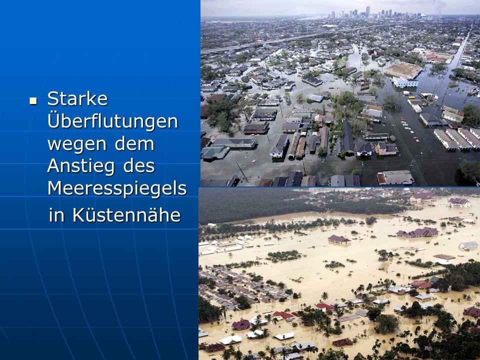 Starke Überflutungen wegen dem Anstieg des Meeresspiegels Starke Überflutungen wegen dem Anstieg des Meeresspiegels in Küstennähe in Küstennähe