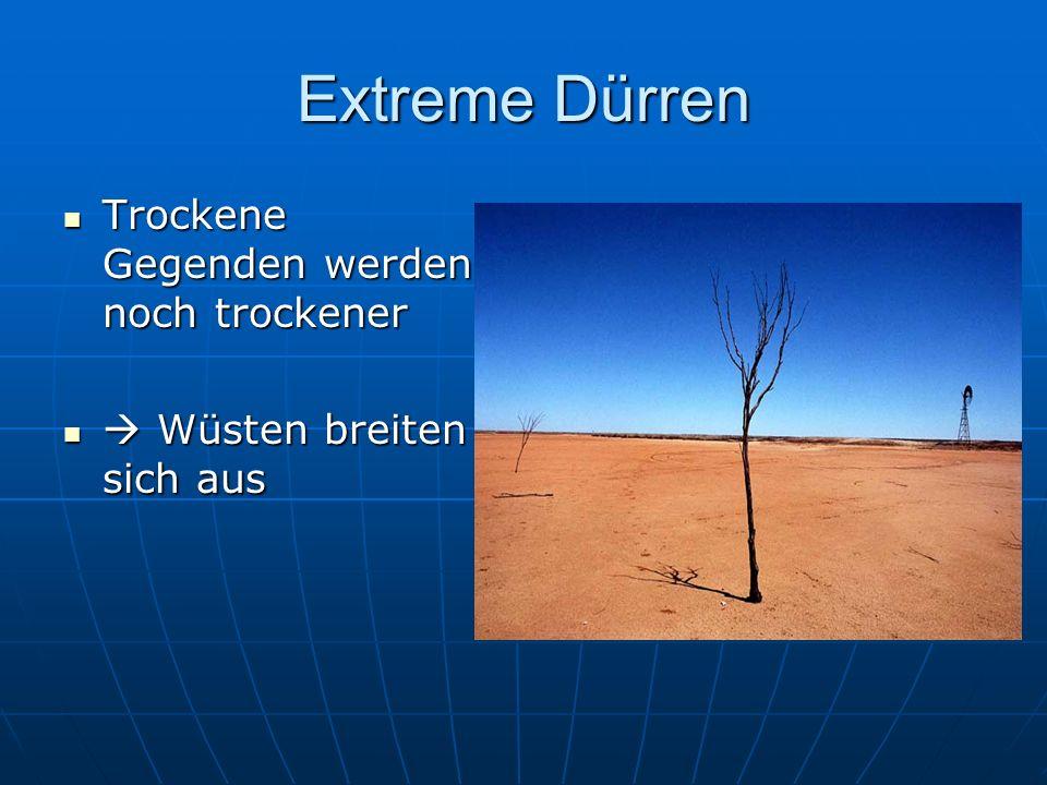 Extreme Dürren Trockene Gegenden werden noch trockener Trockene Gegenden werden noch trockener Wüsten breiten sich aus Wüsten breiten sich aus