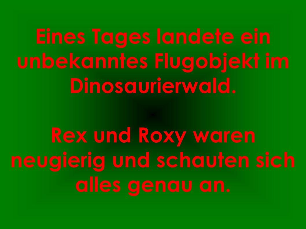 Eines Tages landete ein unbekanntes Flugobjekt im Dinosaurierwald. Rex und Roxy waren neugierig und schauten sich alles genau an.