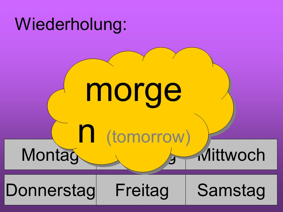 MontagDienstagMittwoch Donnerstag FreitagSamstag Sonntag Wiederholung: morge n (tomorrow)