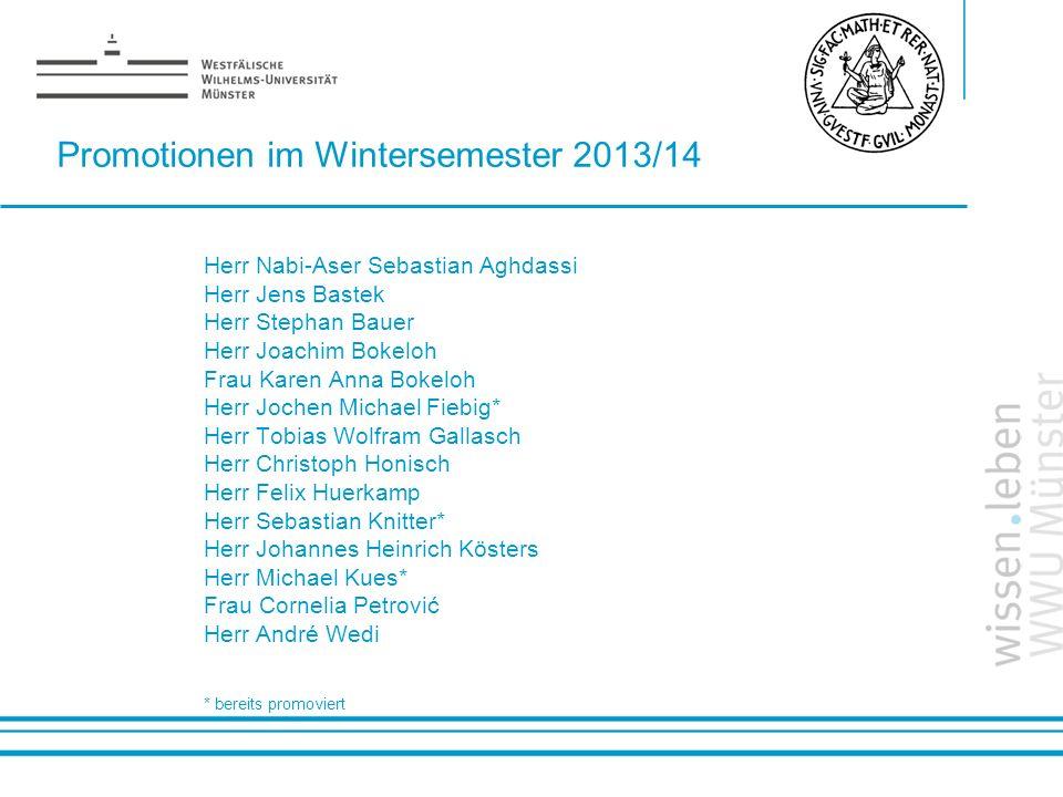 Name: der Referentin / des Referenten Promotionen im Wintersemester 2013/14 Herr Nabi-Aser Sebastian Aghdassi Herr Jens Bastek Herr Stephan Bauer Herr