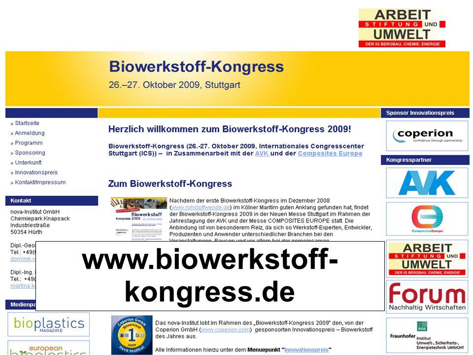 Stiftung Arbeit und Umwelt der IG BCE www.biowerkstoff- kongress.de