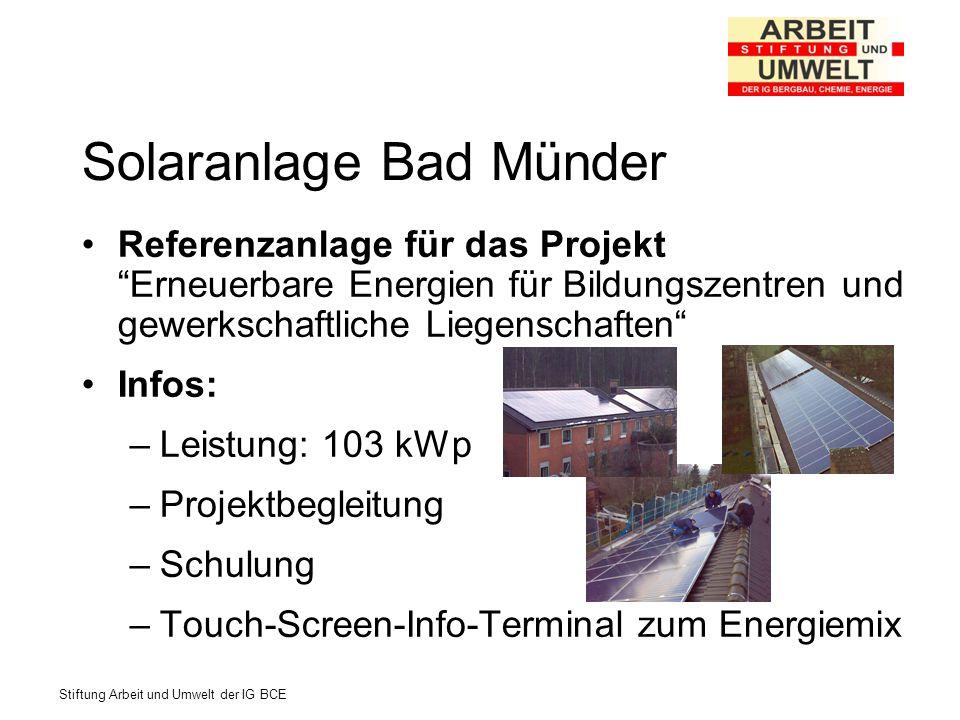 Stiftung Arbeit und Umwelt der IG BCE Solaranlage Bad Münder Referenzanlage für das Projekt Erneuerbare Energien für Bildungszentren und gewerkschaftl