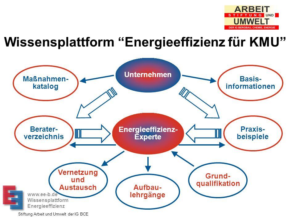 Stiftung Arbeit und Umwelt der IG BCE Energieeffizienz- Experte Aufbau- lehrgänge Berater- verzeichnis Praxis- beispiele Unternehmen Grund- qualifikat