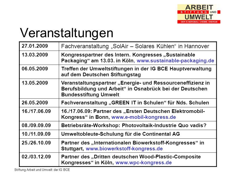 Stiftung Arbeit und Umwelt der IG BCE Veranstaltungen 27.01.2009 Fachveranstaltung SolAir – Solares Kühlen in Hannover 13.03.2009Kongresspartner des Intern.