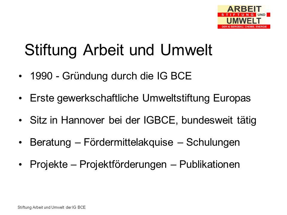 Stiftung Arbeit und Umwelt der IG BCE Stiftung Arbeit und Umwelt 1990 - Gründung durch die IG BCE Erste gewerkschaftliche Umweltstiftung Europas Sitz
