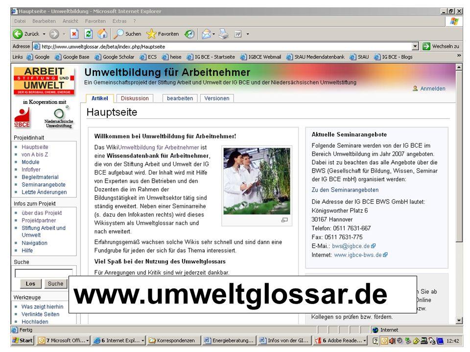 Stiftung Arbeit und Umwelt der IG BCE www.umweltglossar.de