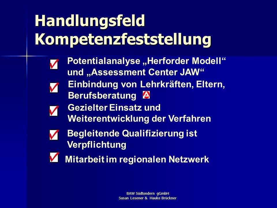 BAW Südtondern gGmbH Susan Lesener & Hauke Brückner Potentialanalyse Herforder Modell und Assessment Center JAW Gezielter Einsatz und Weiterentwicklun