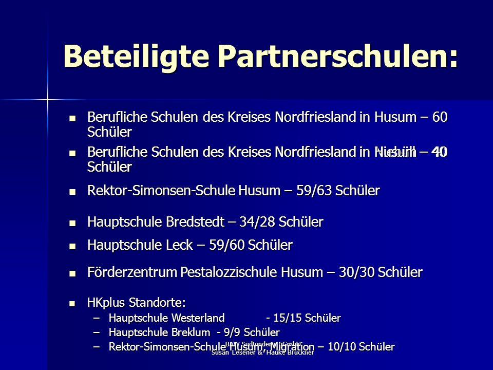BAW Südtondern gGmbH Susan Lesener & Hauke Brückner Beteiligte Partnerschulen: Berufliche Schulen des Kreises Nordfriesland in Husum – 60 Schüler Beru