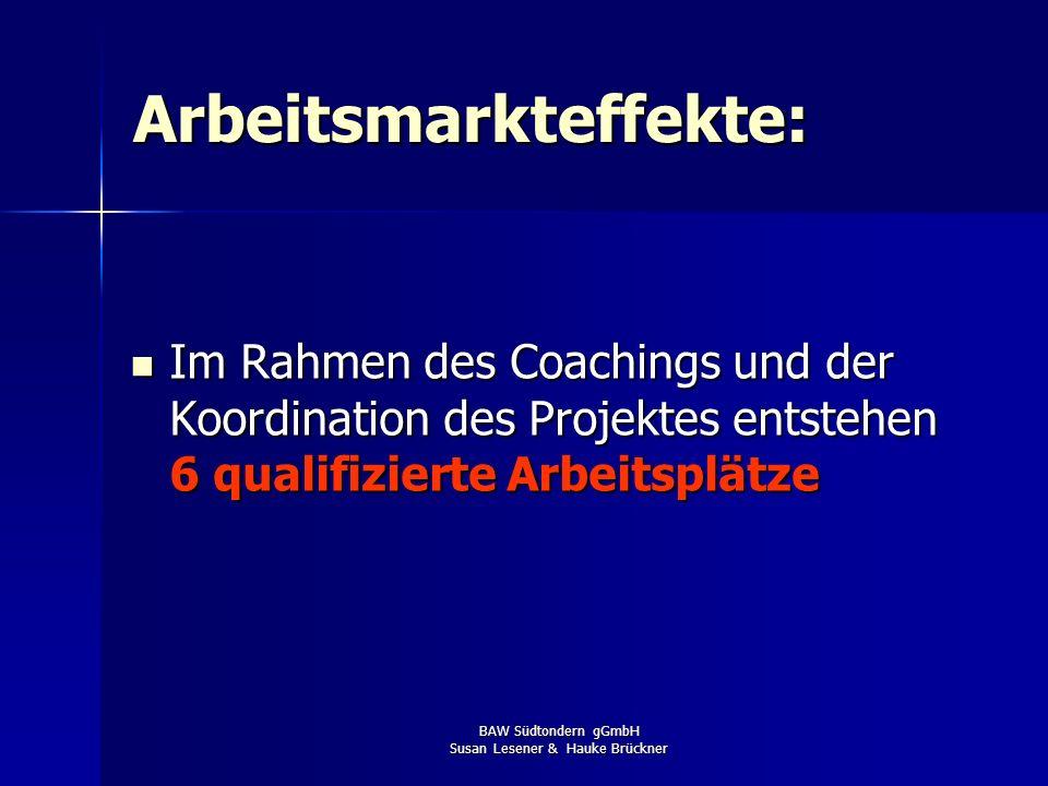 BAW Südtondern gGmbH Susan Lesener & Hauke Brückner Arbeitsmarkteffekte: Im Rahmen des Coachings und der Koordination des Projektes entstehen 6 qualif