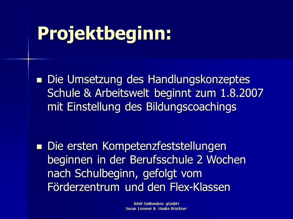 BAW Südtondern gGmbH Susan Lesener & Hauke Brückner Projektbeginn: Die Umsetzung des Handlungskonzeptes Schule & Arbeitswelt beginnt zum 1.8.2007 mit