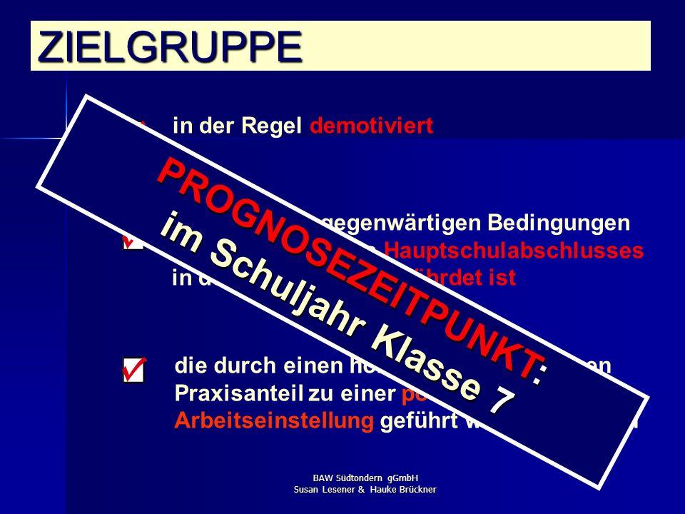 BAW Südtondern gGmbH Susan Lesener & Hauke Brückner in der Regel demotiviert ZIELGRUPPE wo unter den gegenwärtigen Bedingungen die Erreichung des Haup
