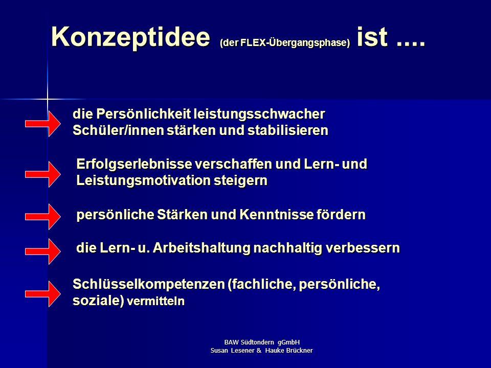 BAW Südtondern gGmbH Susan Lesener & Hauke Brückner Konzeptidee (der FLEX-Übergangsphase) ist.... die Persönlichkeit leistungsschwacher Schüler/innen