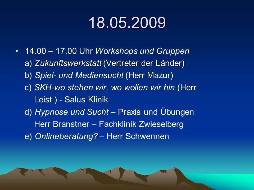 18.05.2009 14.00 – 17.00 Uhr Workshops und Gruppen Zukunftswerkstatt (Vertreter der Länder) a) Zukunftswerkstatt (Vertreter der Länder) b) Spiel- und