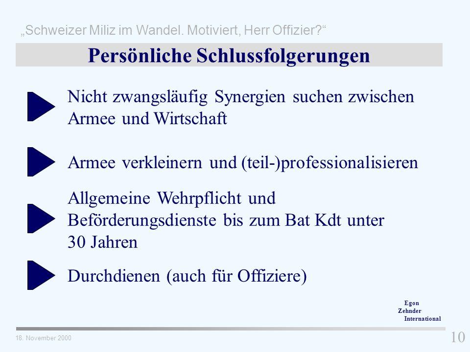 Durchdienen (auch für Offiziere) Allgemeine Wehrpflicht und Beförderungsdienste bis zum Bat Kdt unter 30 Jahren Armee verkleinern und (teil-)professio