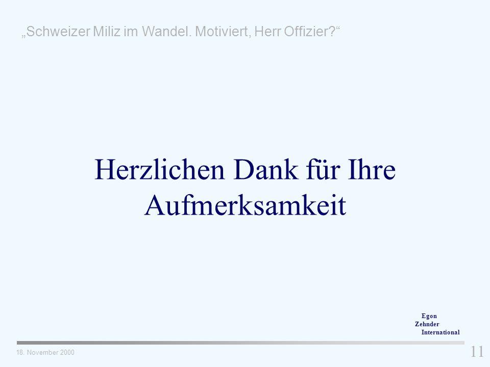 18. November 2000 11 Herzlichen Dank für Ihre Aufmerksamkeit Schweizer Miliz im Wandel. Motiviert, Herr Offizier? Egon Zehnder International