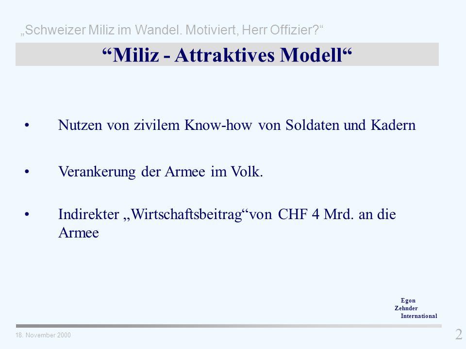 Nutzen von zivilem Know-how von Soldaten und Kadern Egon Zehnder International Schweizer Miliz im Wandel. Motiviert, Herr Offizier? 2 18. November 200