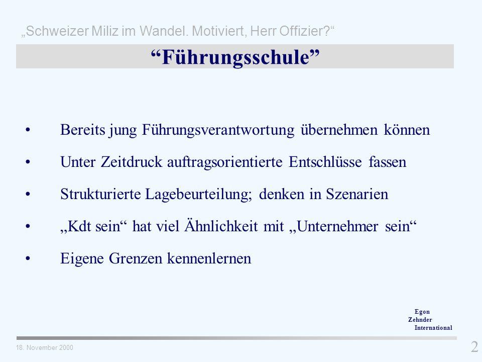 Bereits jung Führungsverantwortung übernehmen können Schweizer Miliz im Wandel. Motiviert, Herr Offizier? 2 18. November 2000 Unter Zeitdruck auftrags