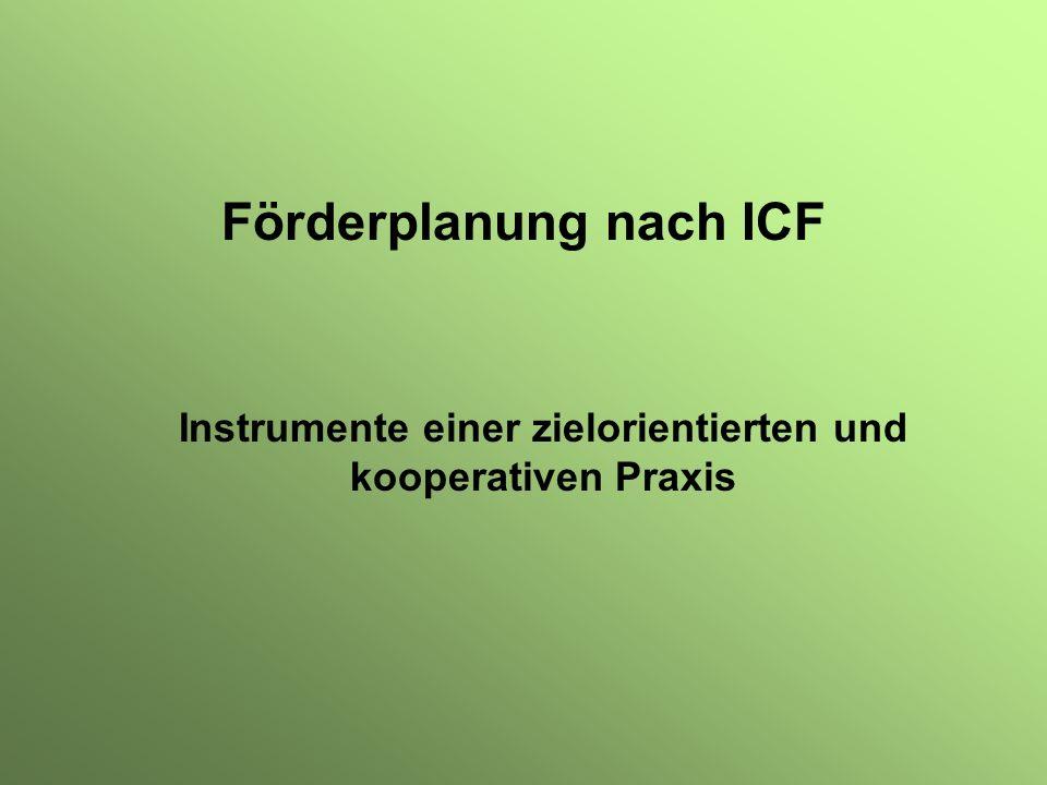 Kooperative und zielorientierte Förderplanung - Instrumente Schulisches Standortgespräch Gemeinsame Formulierung von Kompasszielen (Mutzeck, 2003) oder Überprüfung von Kompasszielen i.S einer Eingangsdiagnose (Kretchmann, 2003) Zielorienterte Föderplanung nach ICF mit WFP Formulierung von Feinzielen entlang der ICF-Lebensbereiche Beschreibung des Sollzustandes/Zone der proximalen Entwicklung (Wygotski) Entwicklung von screenings aus Fragestellungen Gemeinsam verantwortete Unterrichtsentwicklung mit QSS Entwicklung einer gemeinsamen Sprache über Unterricht Erstellung von kriteriengeleiteten Hospitationsbögen Selbstevaluation von Schulen/Pädagogischen Teams/U-Teams Schlülerdokumentation mit ISD Interdisziplinäre Dokumentation des Lernen und Verhaltens Dokumentatation des pädagogischen/unterrichtlichen Handelns Rollende Erfassung und Planung – Erstellung von Berichte