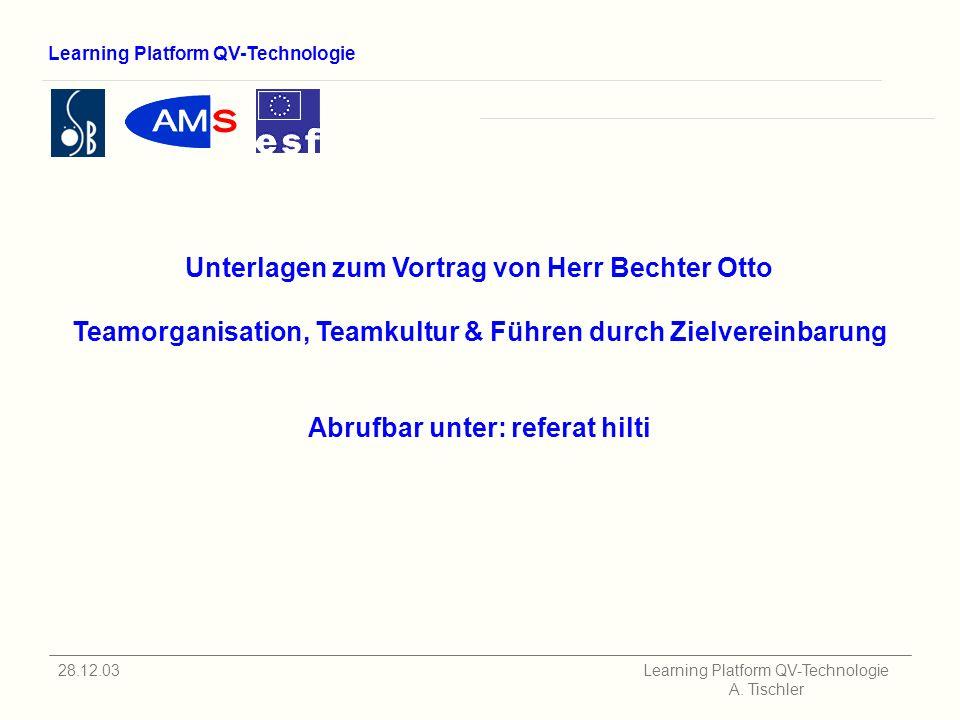 Learning Platform QV-Technologie 28.12.03 Learning Platform QV-Technologie A.