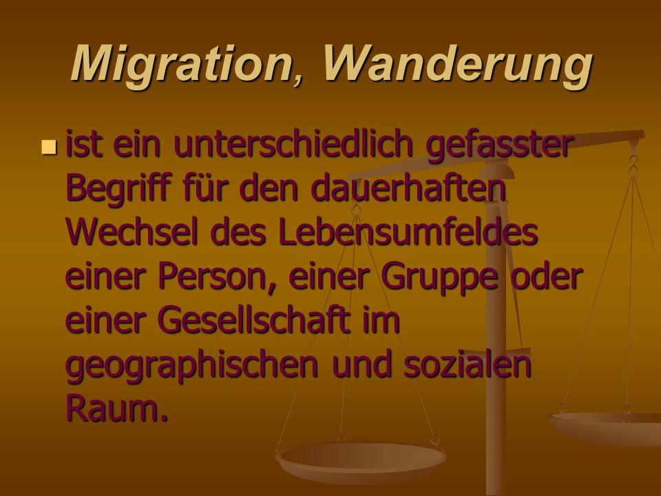 Migration, Wanderung ist ein unterschiedlich gefasster Begriff für den dauerhaften Wechsel des Lebensumfeldes einer Person, einer Gruppe oder einer Ge