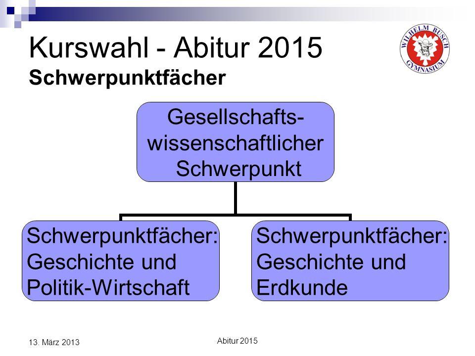 Abitur 2015 13. März 2013 Kurswahl - Abitur 2015 Schwerpunktfächer Gesellschafts- wissenschaftlicher Schwerpunkt Schwerpunktfächer: Geschichte und Pol