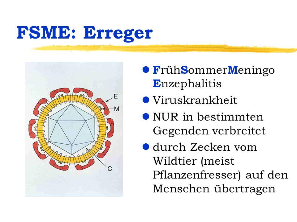 FSME: Erreger l F rüh S ommer M eningo E nzephalitis lViruskrankheit lNUR in bestimmten Gegenden verbreitet ldurch Zecken vom Wildtier (meist Pflanzen