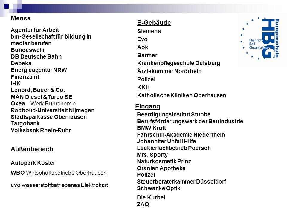 Mensa Agentur für Arbeit bm-Gesellschaft für bildung in medienberufen Bundeswehr DB Deutsche Bahn Debeka Energieagentur NRW Finanzamt IHK Lenord, Baue