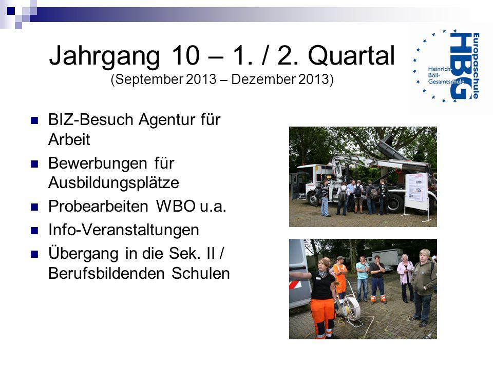 Jahrgang 10 – 1. / 2. Quartal (September 2013 – Dezember 2013) BIZ-Besuch Agentur für Arbeit Bewerbungen für Ausbildungsplätze Probearbeiten WBO u.a.