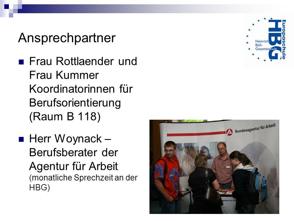 Ansprechpartner Frau Rottlaender und Frau Kummer Koordinatorinnen für Berufsorientierung (Raum B 118) Herr Woynack – Berufsberater der Agentur für Arb