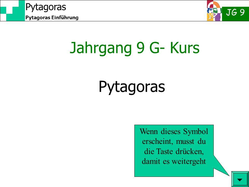 JG 9 Pytagoras Einführung Pytagoras Jahrgang 9 G- Kurs Wenn dieses Symbol erscheint, musst du die Taste drücken, damit es weitergeht