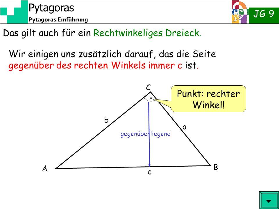 JG 9 Pytagoras Einführung Pytagoras Herr Pytagoras hat einen Satz aufgestellt, der lautet: a² + b² = c² 4 cm 3 cm 5 cm Wenn ich eine Linie von 4 cm zeichne und senkrecht darauf eine Linie von 3 cm dann muss die Verbindung 5 cm lang sein.