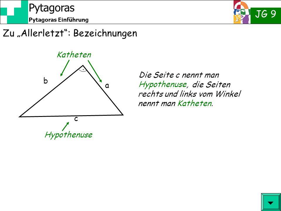 JG 9 Pytagoras Einführung Pytagoras Zu Allerletzt: Bezeichnungen c a b Die Seite c nennt man Hypothenuse, Katheten Hypothenuse die Seiten rechts und l