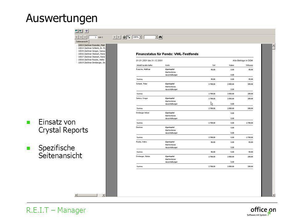 R.E.I.T – Manager Auswertungen Einsatz von Crystal Reports Spezifische Seitenansicht