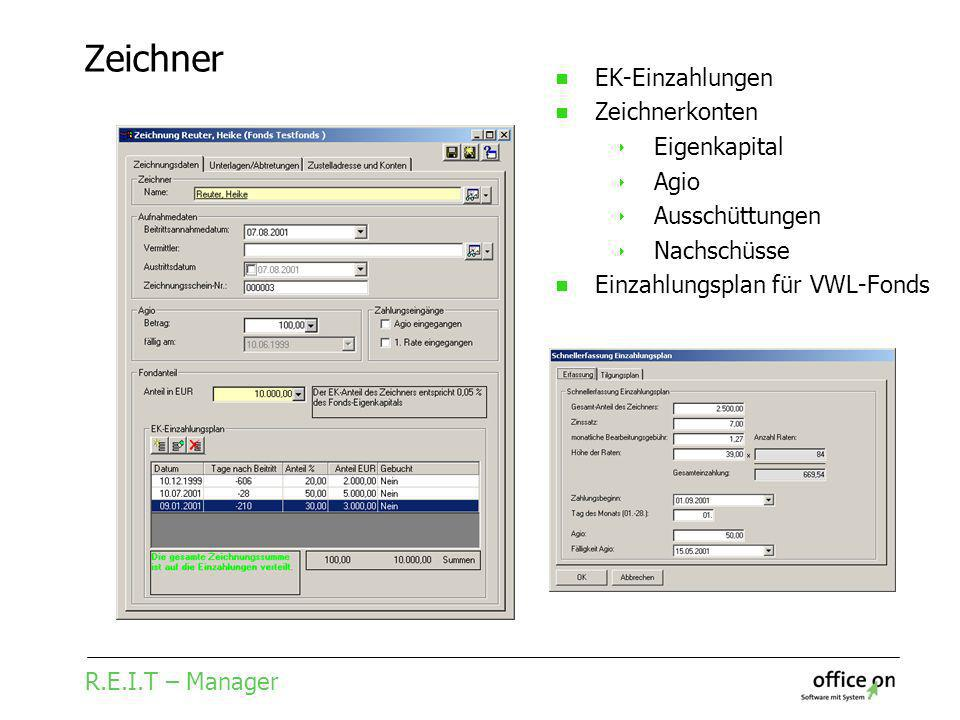 R.E.I.T – Manager Zeichner EK-Einzahlungen Zeichnerkonten Eigenkapital Agio Ausschüttungen Nachschüsse Einzahlungsplan für VWL-Fonds