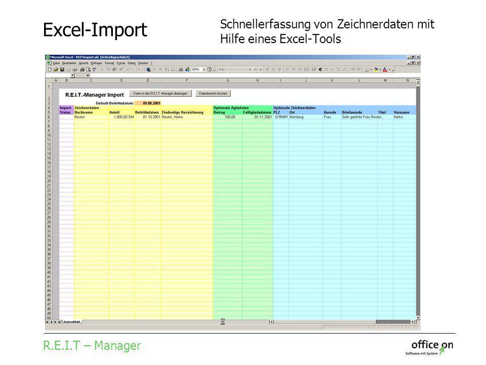 R.E.I.T – Manager Excel-Import Schnellerfassung von Zeichnerdaten mit Hilfe eines Excel-Tools