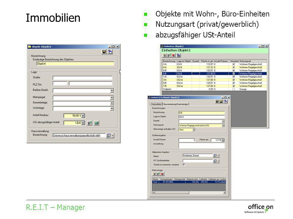 R.E.I.T – Manager Immobilien Objekte mit Wohn-, Büro-Einheiten Nutzungsart (privat/gewerblich) abzugsfähiger USt-Anteil