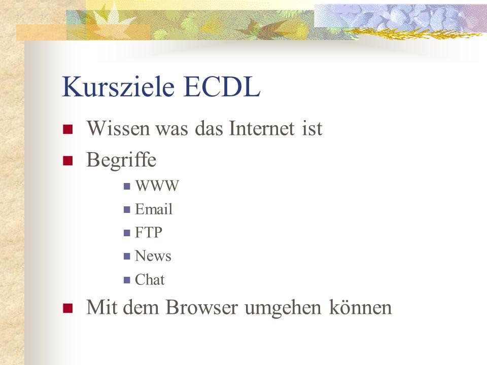 Kursziele ECDL Mit Suchmaschinen umgehen können Informationen suchen, finden, verwenden, kopieren, downloaden + ausdrucken können Email-Programm kennen Emails verschicken, empfangen, lesen + organisieren können Thema Sicherheit