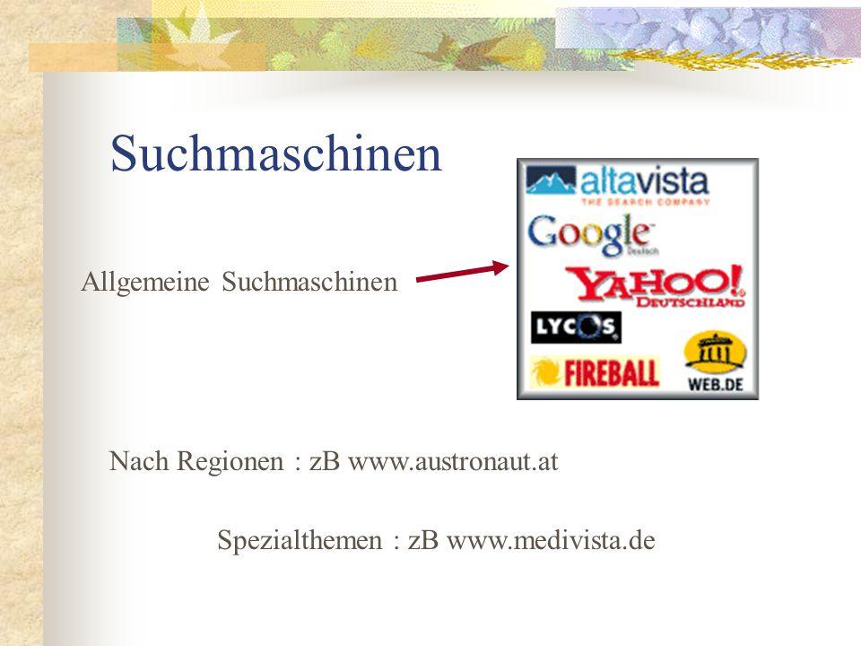 Suchmaschinen Allgemeine Suchmaschinen Nach Regionen : zB www.austronaut.at Spezialthemen : zB www.medivista.de