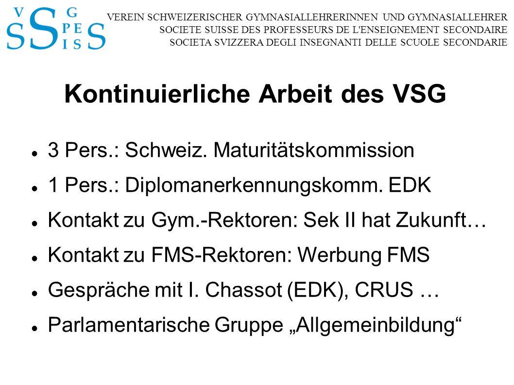 VEREIN SCHWEIZERISCHER GYMNASIALLEHRERINNEN UND GYMNASIALLEHRER SOCIETE SUISSE DES PROFESSEURS DE L ENSEIGNEMENT SECONDAIRE SOCIETA SVIZZERA DEGLI INSEGNANTI DELLE SCUOLE SECONDARIE Kontinuierliche Arbeit des VSG 3 Pers.: Schweiz.