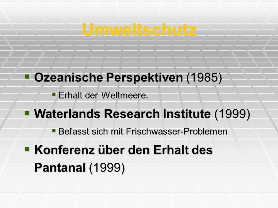 Umweltschutz Ozeanische Perspektiven (1985) Ozeanische Perspektiven (1985) Erhalt der Weltmeere. Erhalt der Weltmeere. Waterlands Research Institute (
